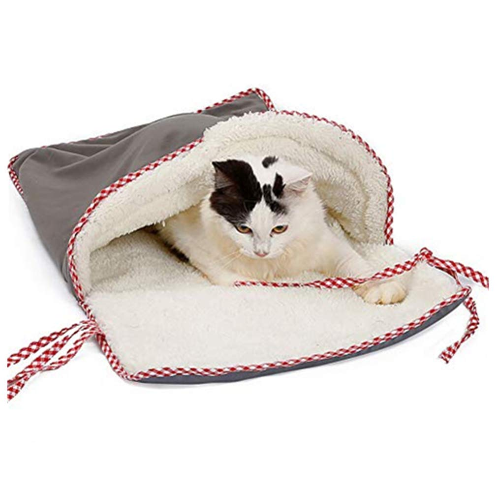 Elogoog Pet Cat Sleeping Bed Cushion Mat Open Design Cave Kitten House Warm Soft Cat Sleeping Bag (Gray)