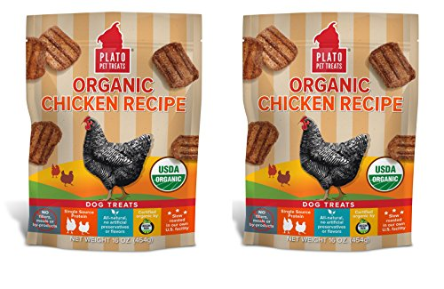 - PLATO Dog Treats -Organic Chicken Real Strips- 16 oz (2 pack)
