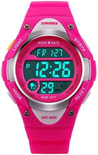 Wdnba 50m Water-proof Outdoor Sports Children Watch Stopwatch Kids Boy Girls LED Digital Alarm Wristwatch Rose red