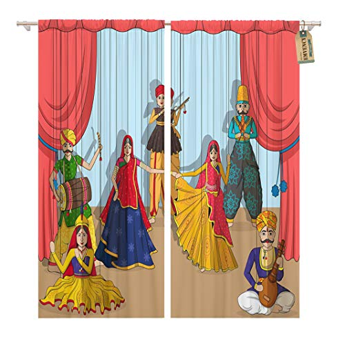 Golee Window Curtain Rajasthan of Colorful Rajasthani Puppet in Indian Tradition India Home Decor Rod Pocket Drapes 2 Panels Curtain 104 x 84 inches ()