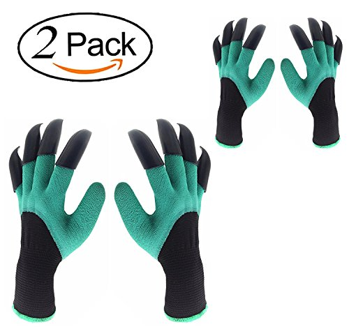 YougIka Garden Genie Gloves with Fingertips Claws Quick Easy to Dig and Plant Safe for Rose Pruning Gloves Mittens Digging gloves (2 Pair Right + Left Claws)