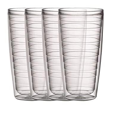 Boston Warehouse Clear 24-Ounce Insulated Tumbler, Set of 4