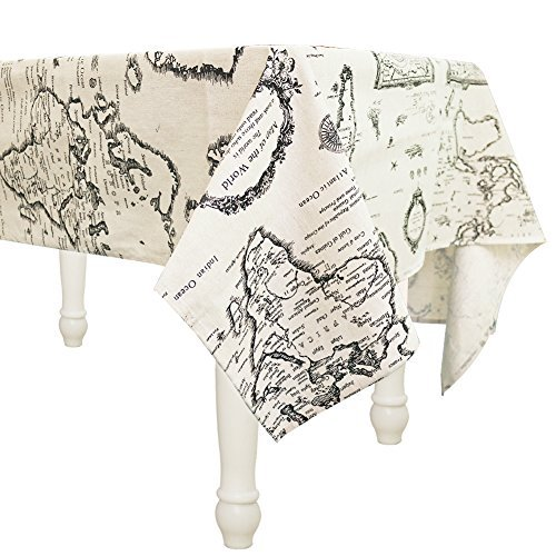 Cotton Linen Fabric World Map Tablecloths with Stain Resistant Rectangular Table Cover for Wedding Decorations Table Decorations Christmas/Thanksgiving Table Decorations(132x178cm/50x70in)