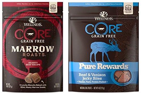 Wellness CORE Grain Free Marrow Roasts and Pure Rewards 2 Flavor Variety Bundle: (1) Hearty Beef Marrow Roasts, (1) Pure Rewards Beef Venison Jerky, 4-8 Oz. Ea.