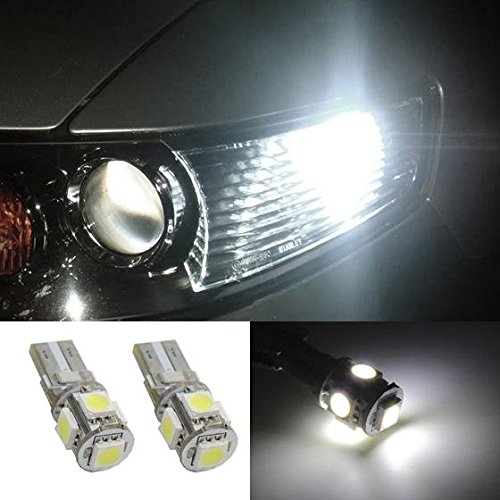 Partsam 2pcs W5W 168 2825 White 5-5050-SMD Car Led Parking lamp Eyelid LED Bulbs Driving lights