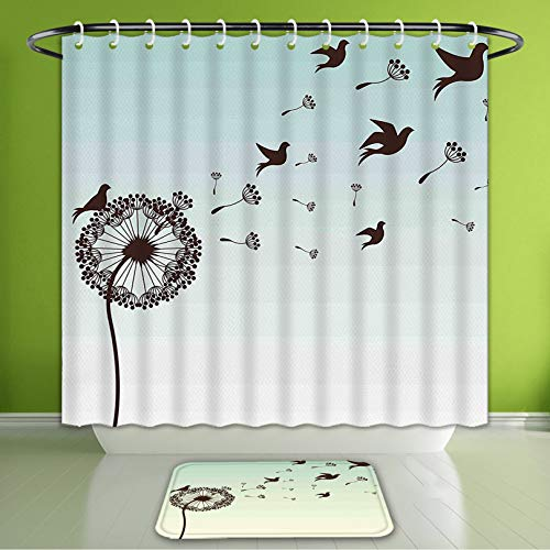 (Waterproof Shower Curtain and Bath Rug Set Art Decor Dandelion Flower Petals Doves Flying Silhouettes Elegance Blooms Dark Bath Curtain and Doormat Suit for Bathroom Extra Wide Size 78