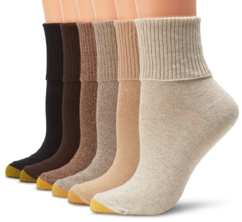 - Gold Toe Women's 6-Pack Turn Cuff Sock Brown Black Mix Shoe Size 6-9/Sock Size 9-11