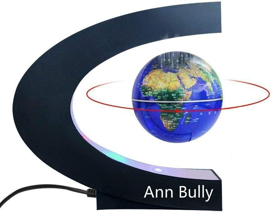 Magnetic Levitation Globe Maglev World Map C Shape Magnetic Suspension Globe with LED Light for Teaching Demo Desk Decoration Learning Education Best Birthday Gift for Fathers Students Teachers