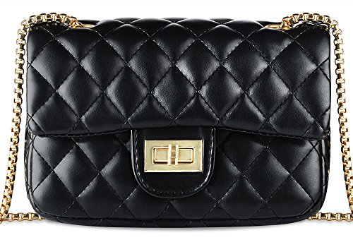 Women Quilted Flap Shoulder Bag, Ustyle Structured Classic Working Chain Strap Satchel Cross Body Bag with Golden Hardware(Black)