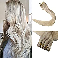 Full Shine 8 Pcs 18 inch 120g Full Head Ombre Clip on Hair Balayage Remy Hair Extensions Seamless Invisible Clip in Extensions Human Hair Color #18 Ash Blonde Fading to #22 and #60 Blonde