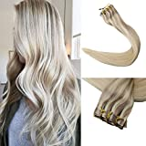 Full Shine 8 Pcs 20 inch 120 Gram Invisible Extensions Balayage Clip in Real Remy Hair Ombre Dip Dyed Color #18 Ash Blonde Fading to #22 Highlighted Color #60 Blonde Seamless Clip in Extensions