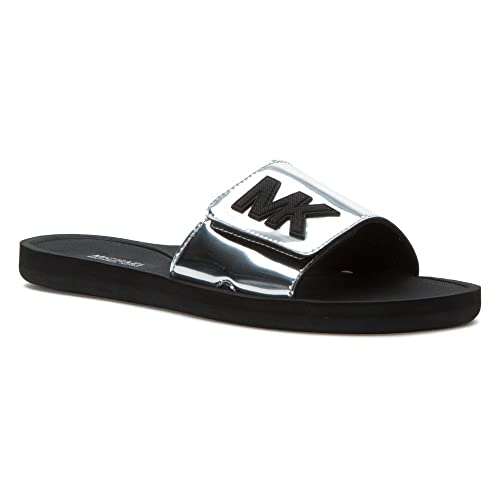 6c125702db81 MICHAEL Michael Kors MK Slide Silver Mirror Metallic Women s Sandals ...
