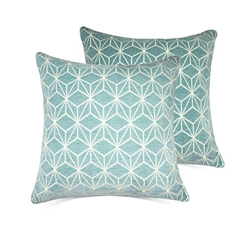 MRNIU Set of 2 Cushion Covers Throw Pillow Covers Coastal Cushions Covers Cotton Home Decorativ (Blue, 18 X 18 inch)