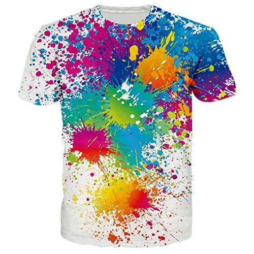 RAISEVERN Unisex 90s Paint 3D Printed Hip Hop Short Sleeve Crewneck T Shirt Tees Clothes for Women Men