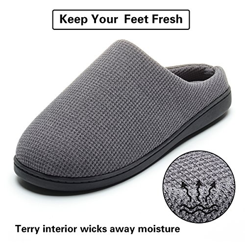 Cozy Spa House Indoor Slippers for Men Warm Lining Clog Slippers Dark Gray L by Harrms (Image #5)