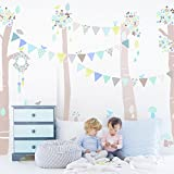 Oopsy Daisy Birch Tree Forest Blue Peel and Place, Blue/Neutral/Pastel, 54'' x 60''