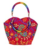 Indian Flower Pot Desiged Bag with Attractive Handicraft Thread Work for Female (Queen)