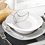 VEWEET 30-Piece Ceramic Tableware Set Brown Lines