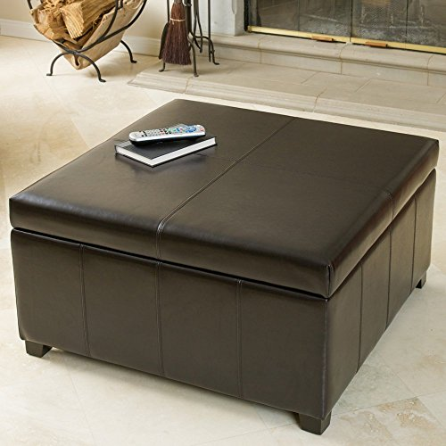 Leather Square Storage Ottoman