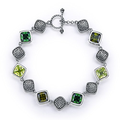 Merthus Antique Style Womens 925 Sterling Silver Created Gemstone Multicolor Link Bracelet