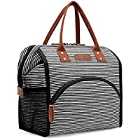 LOKASS Lunch Bag Insulated Lunch Cooler Bag Wide-Open Lunch Tote Box Leakproof Drinks Holder Durable Canvas Snacks Organizer for Women Men Boys Girls kids Adults School Work Outdoot Activity,Stripes