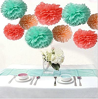 Saitec ® Pack of 18PCS Mixed Coral Peach Mint Party Tissue Pom Poms Paper Flower Pompoms Wedding Birthday Party Nursery Decoration