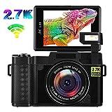 Digital Camera Vlogging Camera,24MP Ultra HD 2.7K WiFi YouTube Camera with 3.0 Inch Flip Screen and Retractable Flashlight (AC1)