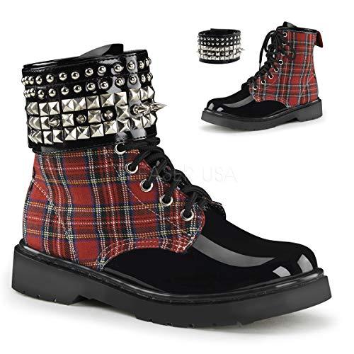 Demonia Women's Riv106/rplf Boot, Red Plaid/Black Patent, 9 M US -
