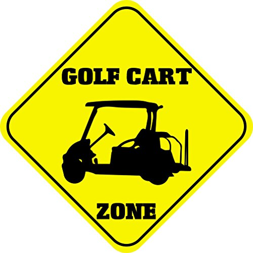 NewFDeals Golf Cart Zone Crossing Funny Metal Aluminum Novelty Plate Gift Sign for Home/Man Cave Decor - 12