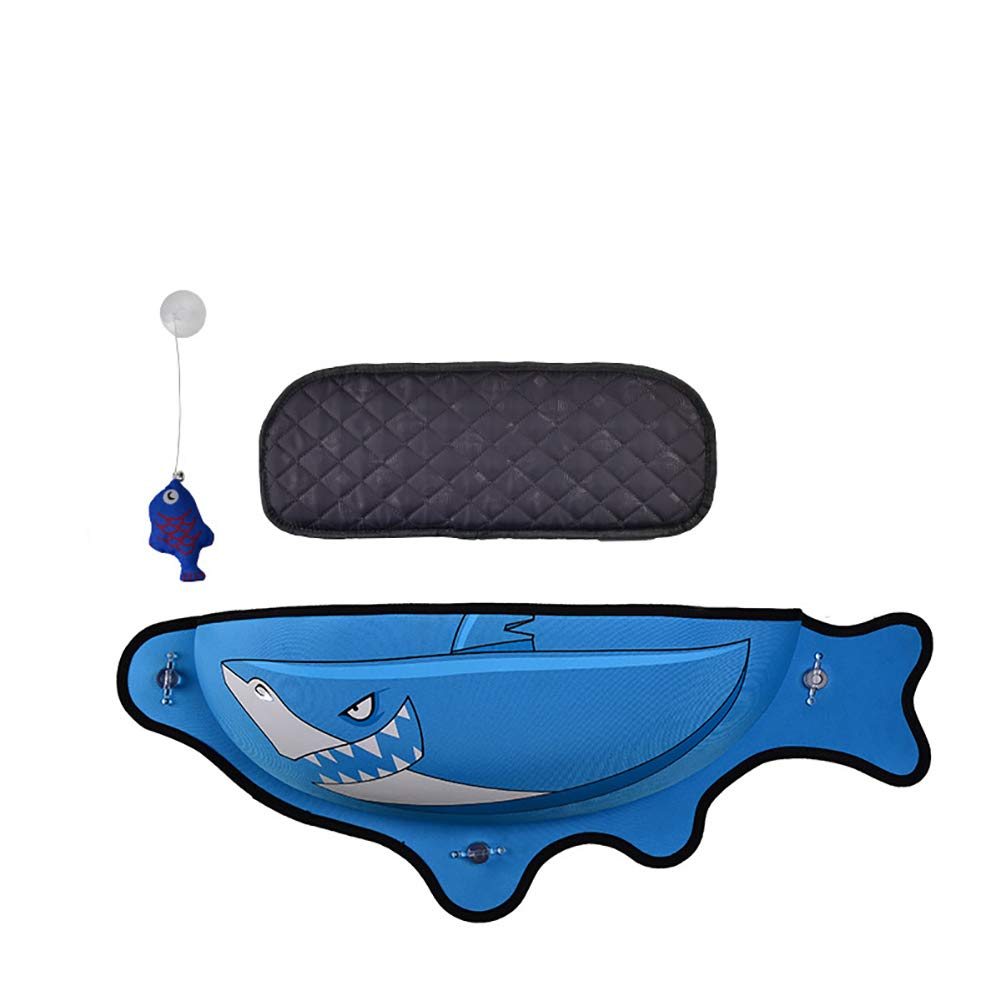 Cat Window Perch,Fish Shape Wall-Mounted Cat Window Hammock Space Saving with Cat Bed Mat,Blue by Caige