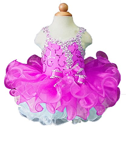 (Beiji Cupcakes Small Girls' Sequins Toddlers Princess Short Pageant Dress 8 US Fuchsia)