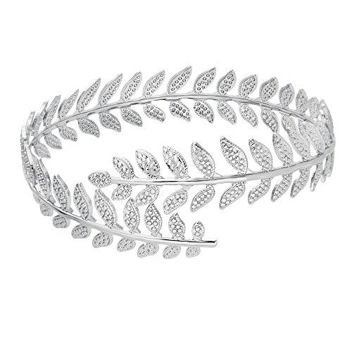 MANZHEN Fashion Gold Tone Swirl Leaf Upper Arm Bracelet Armlet Cuff Bangle Armband (Gold Tone Swirl)