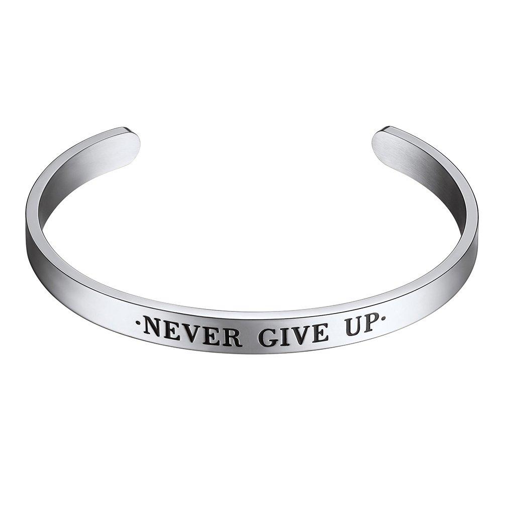 PROSTEEL Cuff Bracelet,Never Give Up,Bible Verse Bracelet,Scripture Bracelet, Stainless Steel,Cuff Bangle