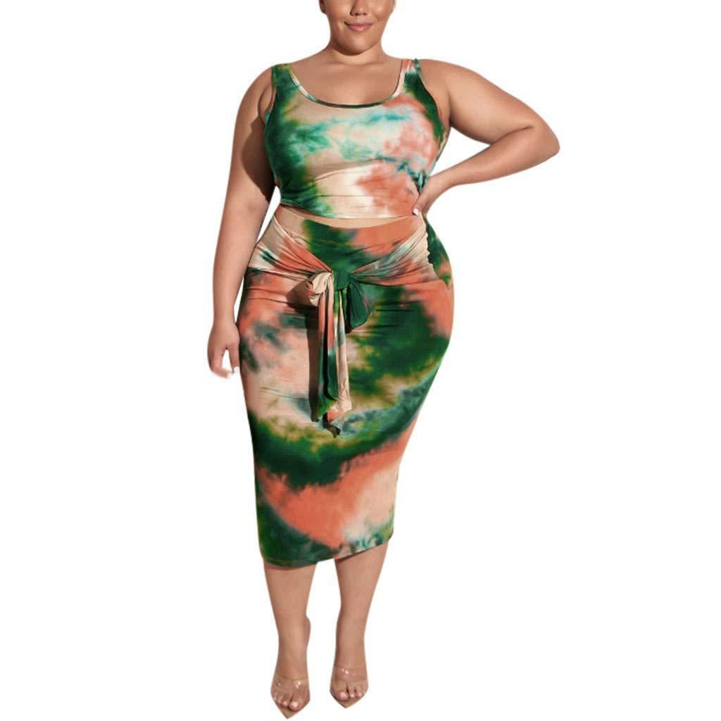 ◐OFEFAN◑ Womens Sexy Plus Size 2 Piece Midi Dress Outfits - Sleeveless Tie Dye Print Tank Crop Top Bodycon Skirts Set
