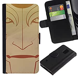 YiPhone /// Tirón de la caja Cartera de cuero con ranuras para tarjetas - Cara tribal - Samsung Galaxy S5 V SM-G900