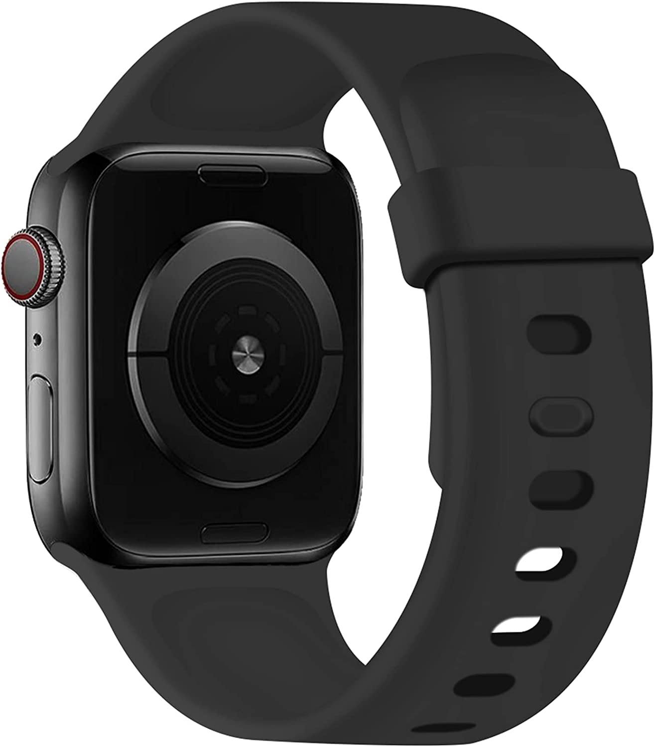 SVISVIPA Sport Bands Compatible with Apple Watch Bands 42mm 44mm, Soft Silicone Wristbands Women Men Replacement Strap for iWatch Series SE/6/5/4/3/2/1,Black