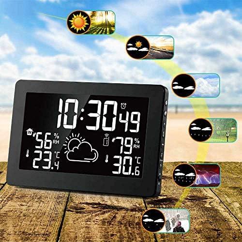 ACAMPTAR Farb Display Funk Wetterstation, Indoor Au?en Digital Wetter Thermometer Barometer EU Stecker