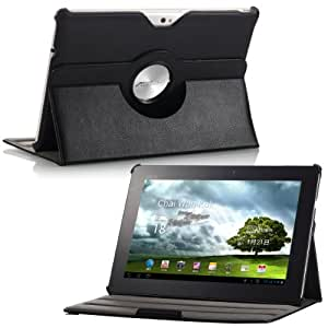 MoKo(TM) Slim-Fit 360 Degree Rotating Folio Cover Case for Asus Eee Pad Transformer Prime TF201 10.1-Inch Android Tablet, Black (with Multi-Angle Vertical and Horizontal Stand)