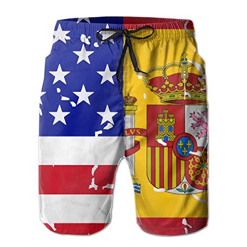 STDKNSK9 Mens USA Spain Flag Board Shorts Swimming Shorts