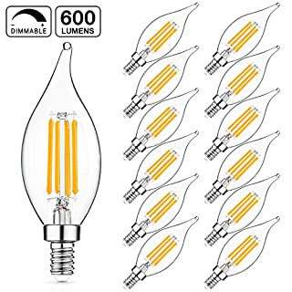 LED Candelabra Bulb, 60W Equivalent, Dimmable 2700K Soft White, E12 Base LED Chandelier Light Bulbs 6W, 600LM CA11 Flame Tip LED Edison Filament Candle Bulb with Decorative Candelabra Base, Pack of 12