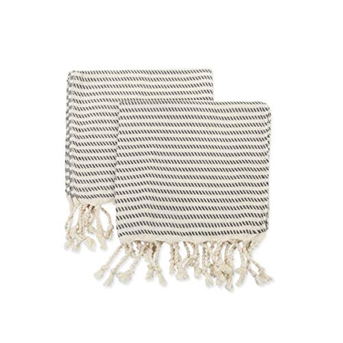 Ahenque Set of 2 Hand-loomed Natural Dish Clothes, Kitchen Towel Set, Cotton&Bamboo Blend, Soft& Tea Towel Set, Extra Soft Towel, Guest Towel, Eco-Friendly Hand Towel Set