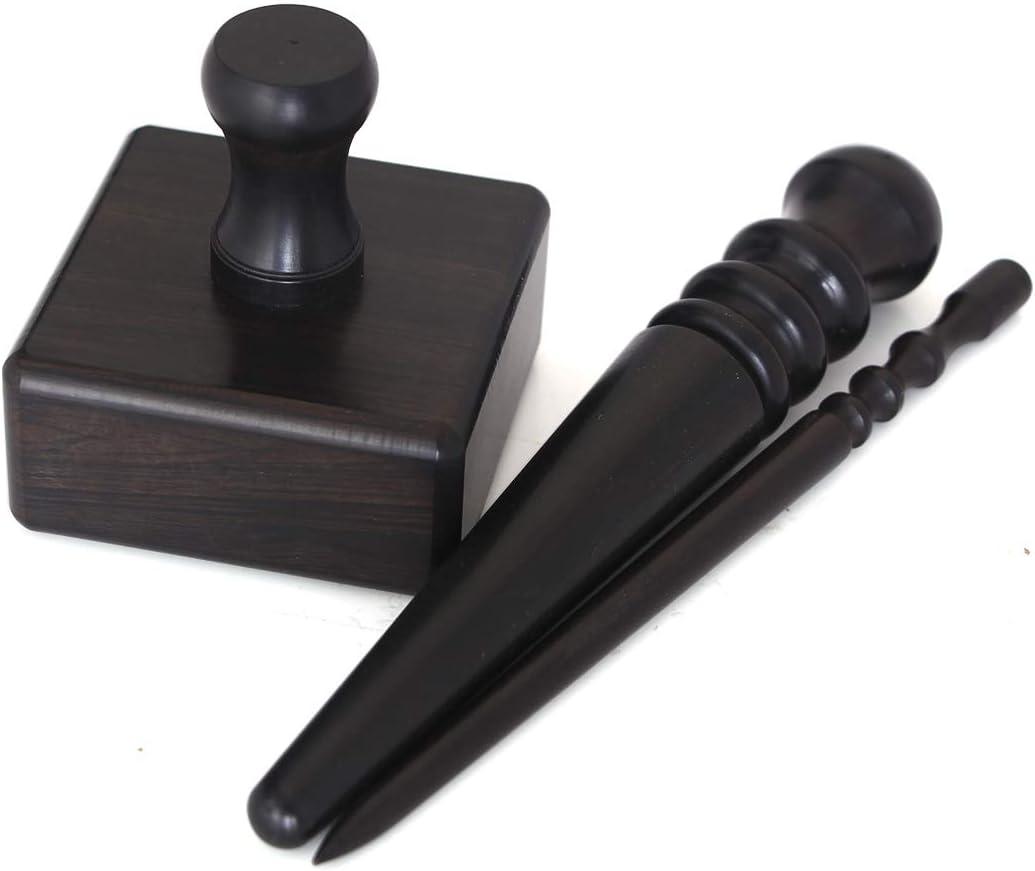 2pcs Schwarz Holz Lederhandwerk Rand Burnisher Leder Schleifwerkzeuge Leder Slicker Werkzeugset Leder poliert Stangen 2 Sticks