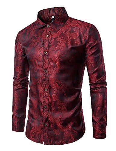 Modfine Mens Long Sleeve Printed Silk Dress Shirt Dance Prom Party Button Down Fashion Shirts