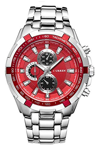 (Curren Red and Silver Sports Watch, Water Proof, Military Style)