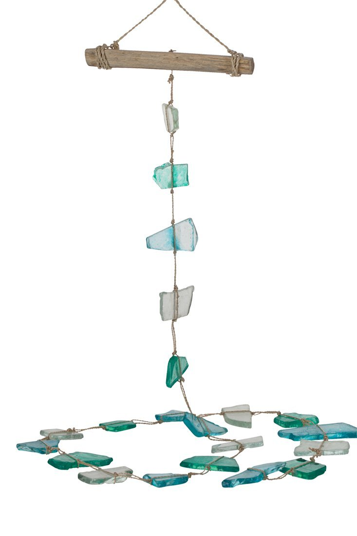 The Seashell Company Driftwood & Seaglass Mobile Rope Wall Décor 52'', Decorative Hanging Strand Mobile, Coastal Ocean Beach Home Decorations