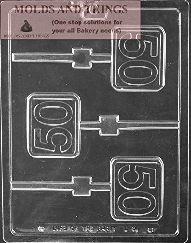 Number 50th Square Lolly Chocolate Candy Mold With © Candy Making Instruction