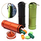 TeLe Xia 3pcs Waterproof Aluminum Pill Box Case Bottle Cache Drug Holder Keychain Container Color Random