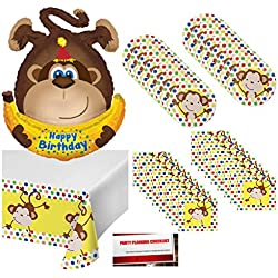 Curious Fun Monkey Happy Birthday Party Supplies Bundle Pack for 16 with Giant 34 Inch Monkey Balloon (Plus Party Planning Checklist by Mikes Super Store)