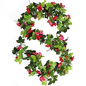 HEJIAYI 96 Inch Artificial Rose Garlands Decorations Flowers Artificial Silk Flower Garlands for Wedding Party Home Office Pack of 3 74
