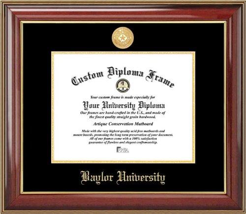 Laminated Visuals Baylor University Bears - Gold Medallion - Mahogany Gold Trim - Diploma Frame
